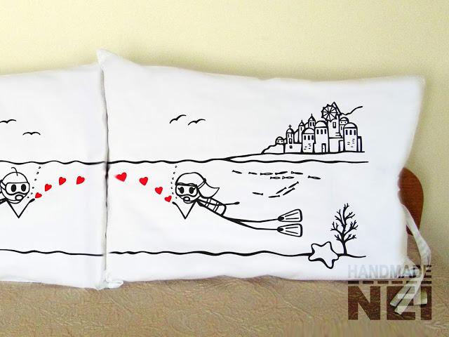 """Калъфки за възглавници за влюбени """"Влюбени в Гърция""""2 - Handmade Nel"""