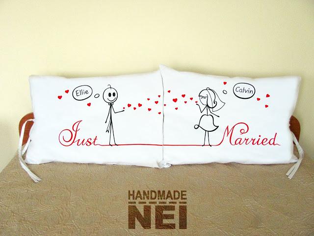 """Калъфки за възглавници за влюбени """"Just Married""""2 - Handmade Nel"""