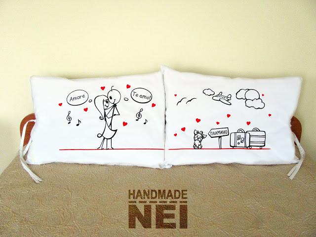 """Калъфки за възглавници за влюбени """"В танца"""" - Handmade Nel"""
