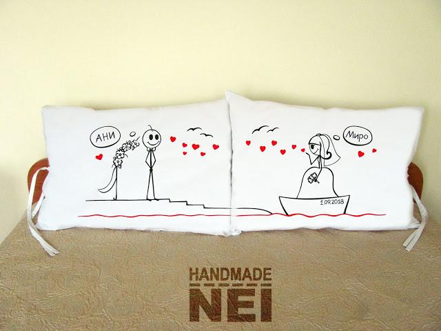 """Калъфки за възглавници за влюбени """"Сватба по вода"""" - Handmade Nel"""