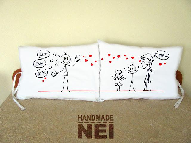 """Калъфки за възглавници за влюбени """"Боксьор и виетнамка"""" - Handmade Nel"""