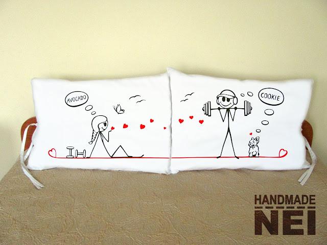 """Калъфки за възглавници за влюбени """"Спортисти""""2 - Handmade Nel"""