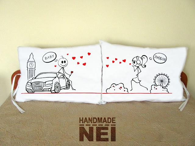 """Калъфки за възглавници за влюбени """"Влюбени в Лондон""""3 - Handmade Nel"""