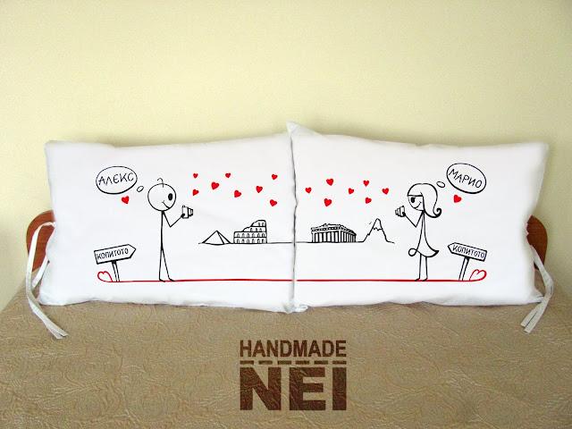 """Калъфки за възглавници за влюбени """"Фотографи"""" - Handmade Nel"""
