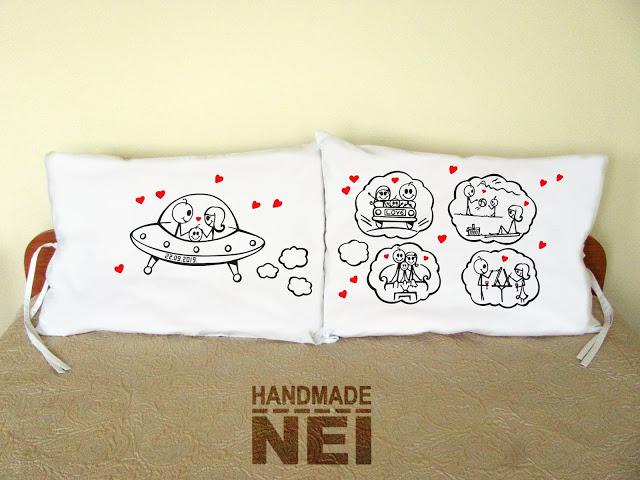 """Калъфки за възглавници за влюбени """"Семейство в Космоса"""" - Handmade Nel"""