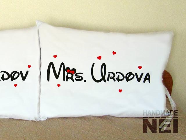 """Калъфки за възглавници за влюбени """"Mr Urdov & Mrs Urdova"""" - Handmade Nel"""