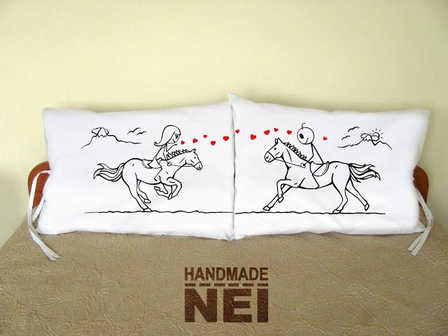 """Калъфки за възглавници за влюбени """"Яздещи"""" - Handmade Nel"""
