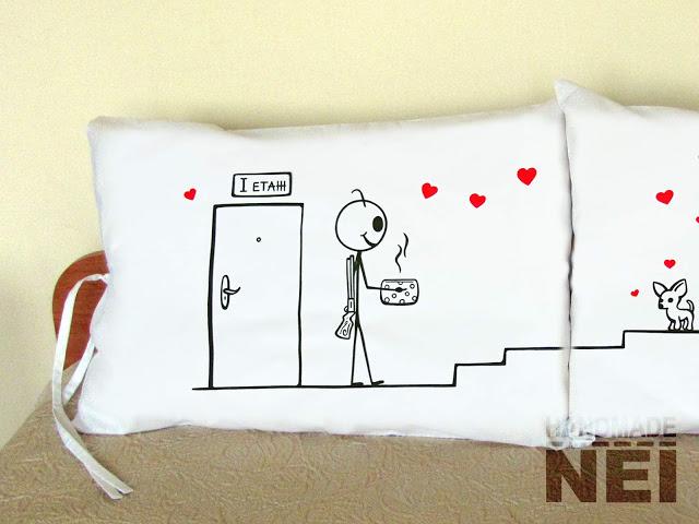 """Калъфки за възглавници за влюбени """"Съседи"""" - Handmade Nel"""