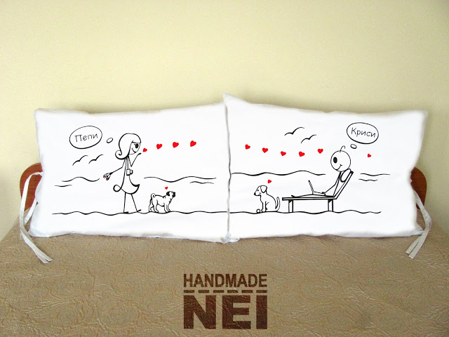 """Калъфки за възглавници за влюбени """"На плажа"""" - Handmade Nel"""