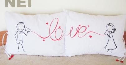 """Калъфки за възглавници за влюбени """"Телефонна любов"""""""