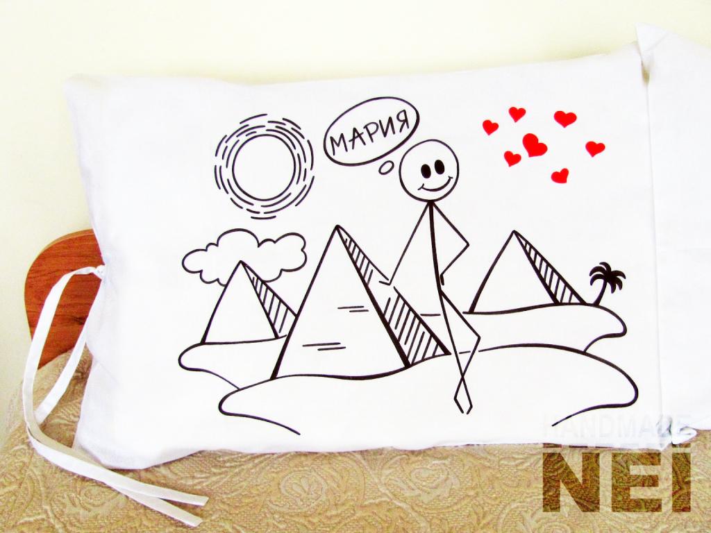 """Калъфки за възглавници за влюбени """"Египетско френска приказка"""" - Handmade Nel"""