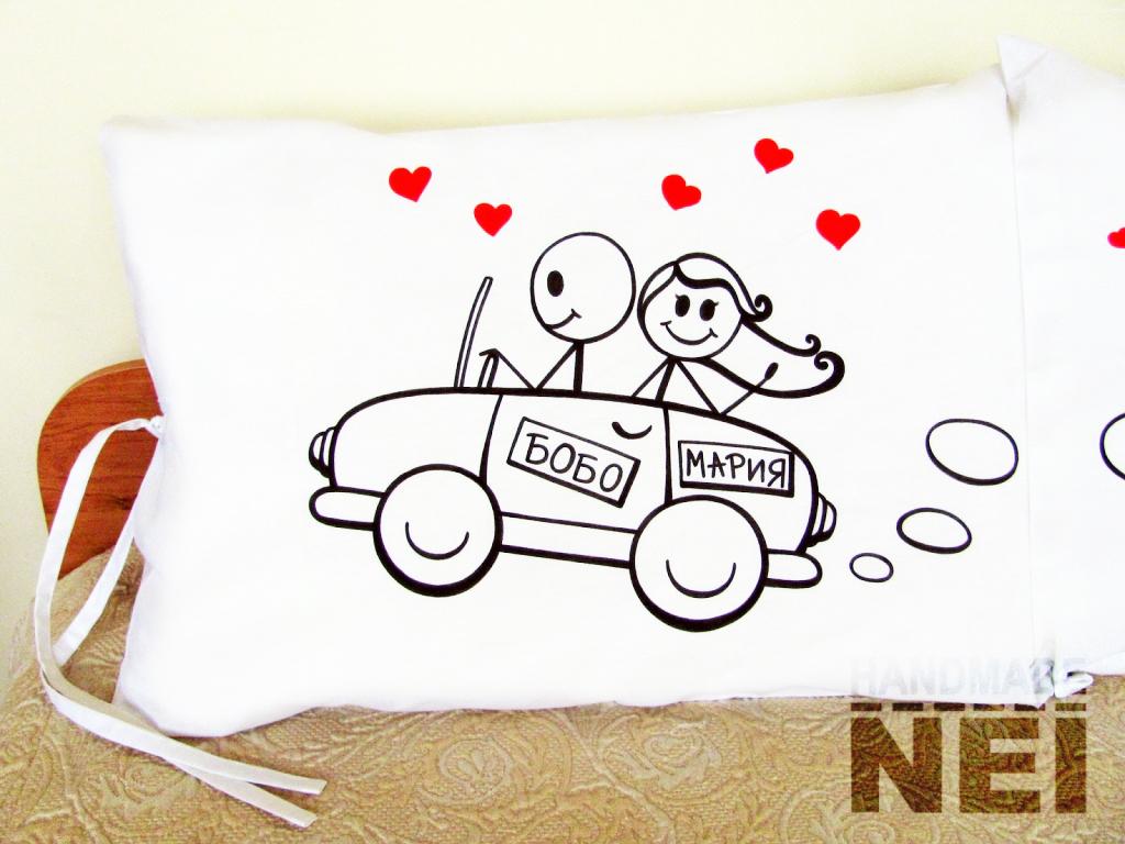 """Калъфки за възглавници за влюбени """"Любов на колела"""" - Handmade Nel"""