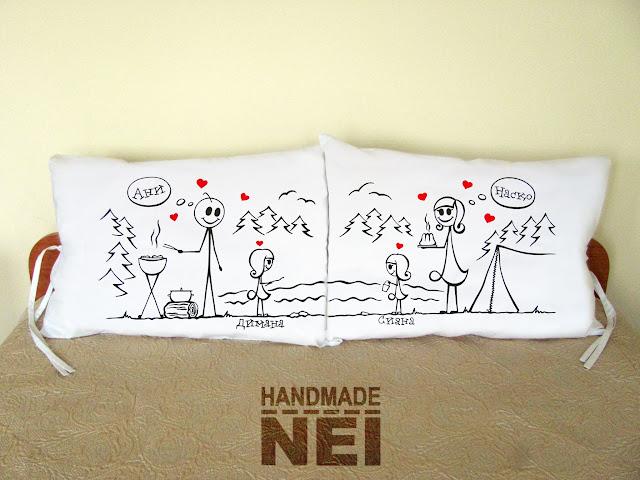 """Калъфки за възглавници за влюбени """"Къмпингари""""2 - Handmade Nel"""