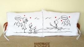 """Калъфки за възглавници за влюбени """"Снимки и каяк"""""""