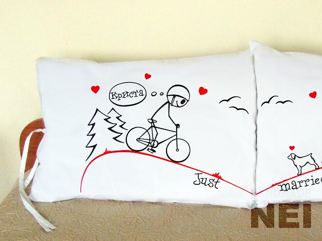 """Калъфки за възглавници за влюбени """"Един към друг"""" - Handmade Nel"""