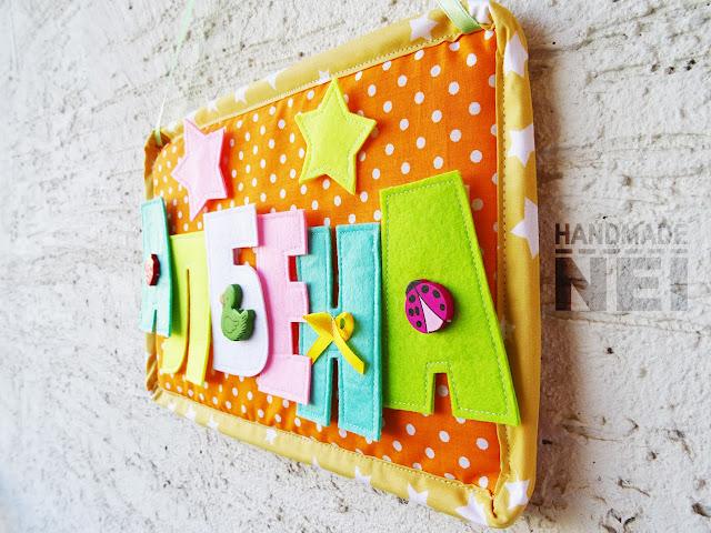 "Табелка за име от плат ""Албена"" - Handmade Nel"